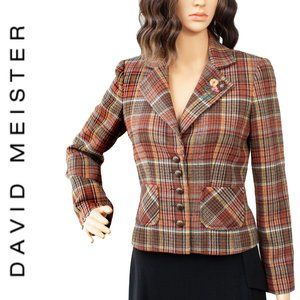 David Meister Tweed Retro Style Blazer Size 2